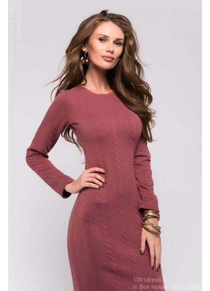 Бордовое платье длины миди с принтом