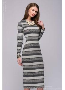 Серое платье длины миди с длинными рукавами из вязаного трикотажа