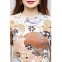 Платье длины мини с крупным цветочным принтом