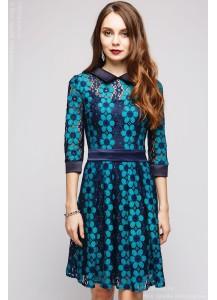 Платье темно-синее кружевное длины мини с рукавами 3/4