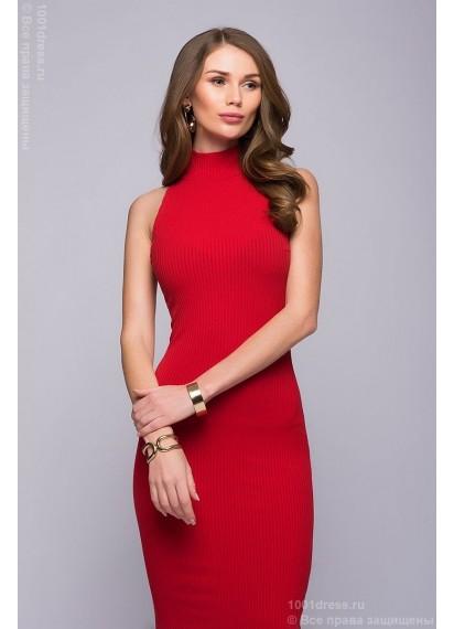 Платье красное длины миди без рукавов