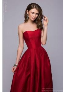 Платье-корсет красное длины макси