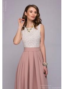 Платье цвета пудры длины макси со светлым верхом