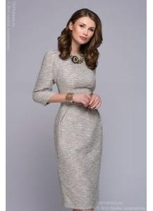 Платье ванильного цвета длины миди с защипами на юбке