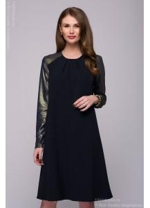 Платье темно-синее длины мини с длинными рукавами