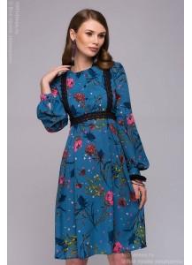 Платье синее длины мини с принтом и отделкой кружевом