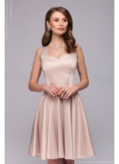 Платье ванильного цвета длины мини с оригинальным вырезом на спинке