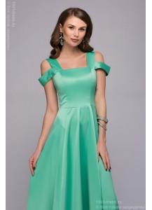 Платье мятного цвета длины макси с оригинальными бретелями