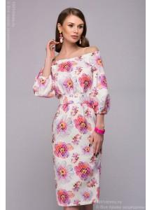 Платье белое длины миди с принтом и открытыми плечами