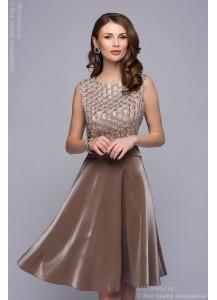 Платье цвета бронзы длины миди с пышной юбкой