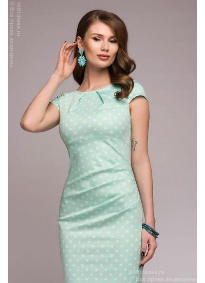 Платье-футляр мятное в горошек