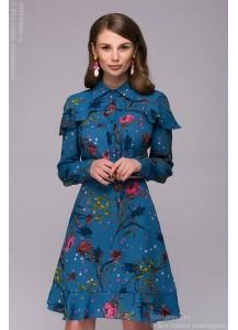Платье синее длины мини с принтом и воланом по плечам и низу