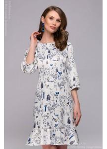 Платье белое длины мини с принтом и воланом по низу