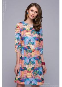 Платье голубое длины мини с рукавами 3\4