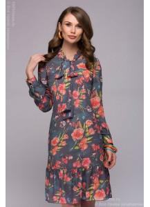 Платье серое длины мини с принтом и бантом на воротнике
