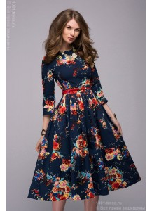 Платье с принтом цветы длины миди