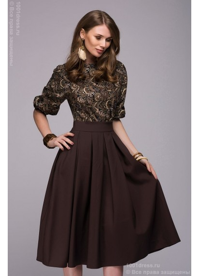"""Платье темно-коричневое длины миди с принтованным верхом и рукавом """"летучая мышь"""""""