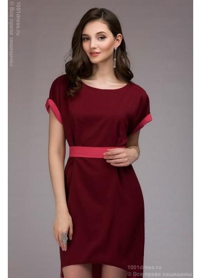 Платье разноуровневое двухсторонее бордово-кораллового цвета