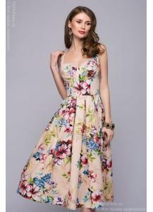 Платье бежевое длины миди с цветочным принтом
