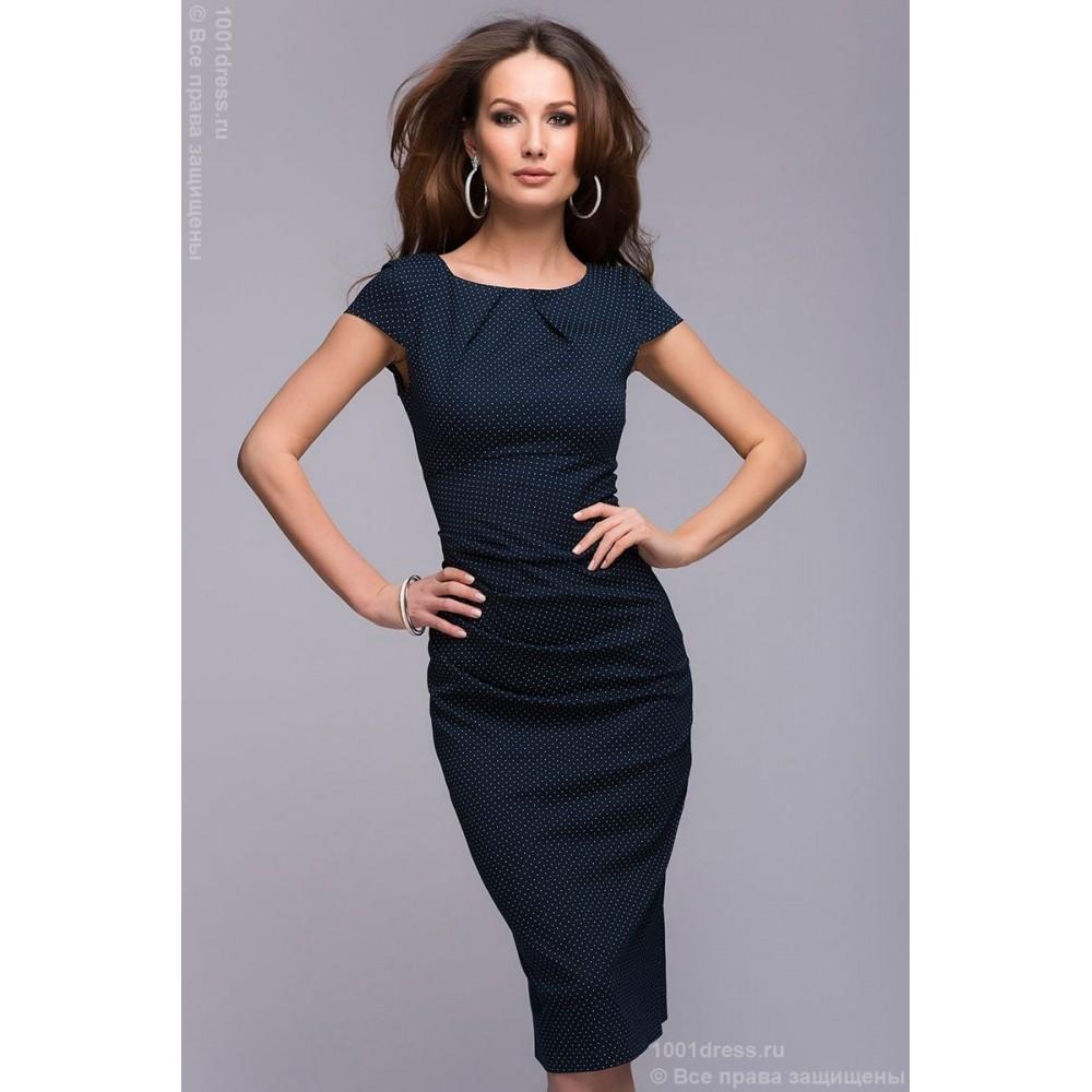 32ed3c67f1c Платье-футляр темно-синее в мелкий горошек DM00204DB купить в ...