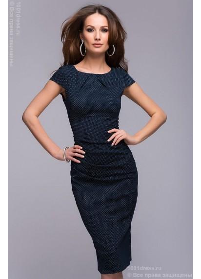 Платье-футляр темно-синее в мелкий горошек