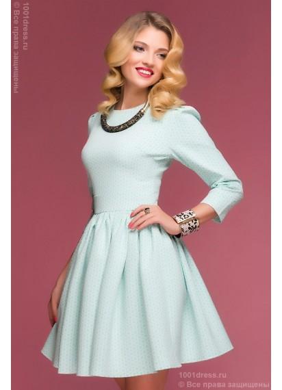 """Платье мятного цвета длины мини с принтом """"круги"""" и рукавом 3/4"""
