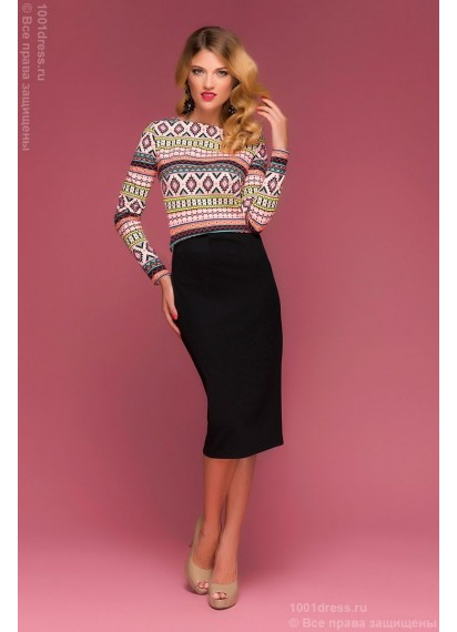 Комплект из черной юбки длины миди и принтованного топа с длинными рукавами