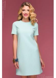 """Платье белое длины мини с принтом """"круги"""" мятного цвета и короткими рукавами"""
