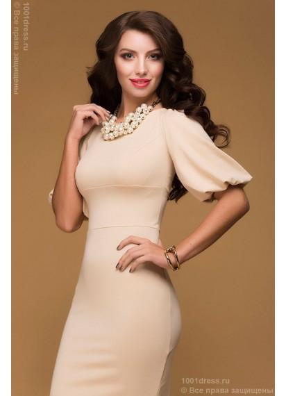 Платье ванильное длины мини с объемными рукавами
