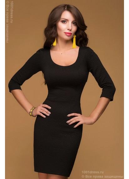 Платье черное длины мини с вырезом на спинке