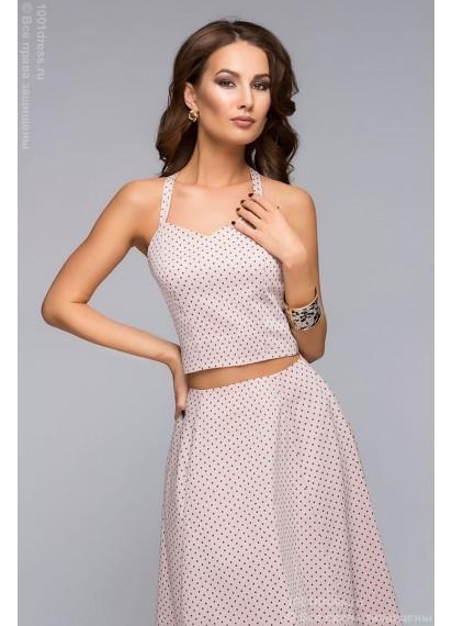 Комплект из юбки и кроп-топа нежно-розового цвета в мелкий горошек