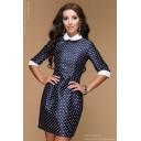 Платье темно-синее с принтом длины мини с белыми манжетами и воротничком