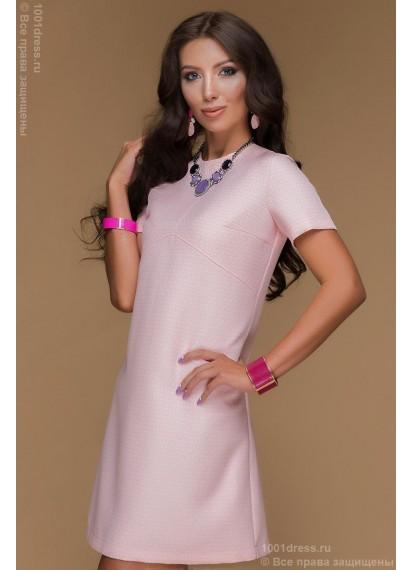 Платье розовое длины мини с короткими рукавами