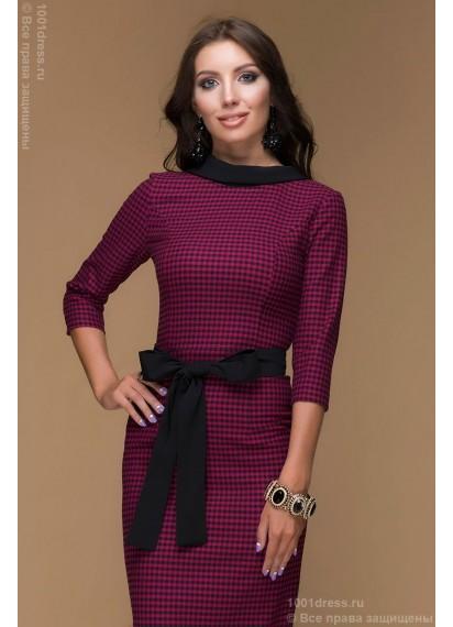 """Платье цвета фуксии с принтом """"гусиная лапка"""" с V-образным вырезом на спине"""