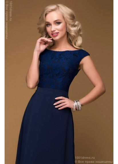 Платье темно-синее длины макси с кружевным верхом без рукавов